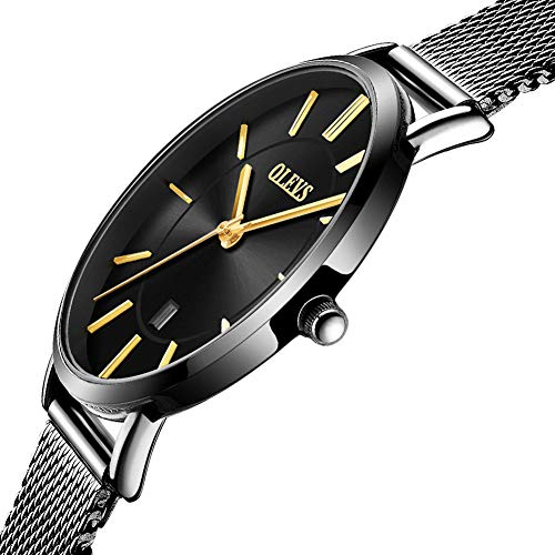 Wrist Watches for Women on Sale,Simple Classic Watch for Ladies,Black Mesh Strap Watches Women,Ultra Thin Watches for Women Waterproof Woman Watches on Sale Clearance,Classic Wrist Watch Black Face