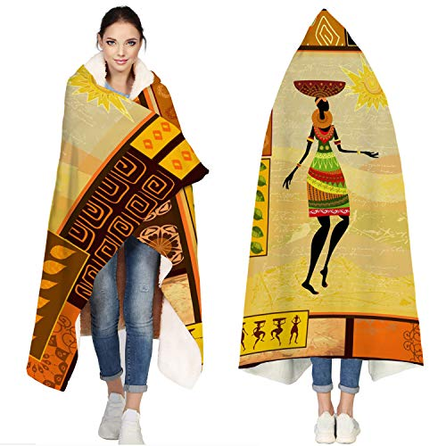 wanxinfu Hooded Blankets for Adults, African Girls Wear Ethnic Costume Tribal Element Patterns - Bath Towel Beach Hoodie Towel Soft Wearable Fleece Blanket for Boy Girl Children, 60