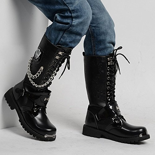 a met da in Stringate in Scarpe pelle in decorazione con uomo da catena Xujw Uomo pelle Stivali shoes 2018 Stivali qwUUzH