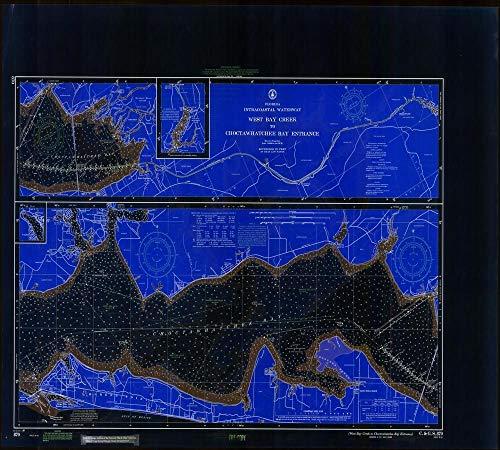 Vintography Blueprint Style 18 x 24 Art Canvas Wrap 1968 Nautical Chart West Bay Creek to Choctawhatchee Bay Entrance FL