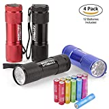 [4 Pack] BESTTEN Super Bright 9 LED Mini Aluminum Flashlight with Lanyard, Assorted Colors, AAA Batteries Included, Perfect for Camping, Hiking, Hunting, Backpacking, Fishing and BBQs
