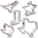 Texas Cookie Cutter Set - 5 piece - Texas 3'' & 4 3/8'', Long Horn, Star, Cowboy Boot - Ann Clark - US Tin Plated Steel
