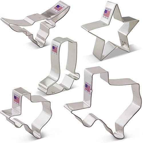 Texas Cookie Cutter Set - 5 piece - Texas 3'' & 4 3/8'', Long Horn, Star, Cowboy Boot - Ann Clark - US Tin Plated Steel by Ann Clark Cookie Cutters