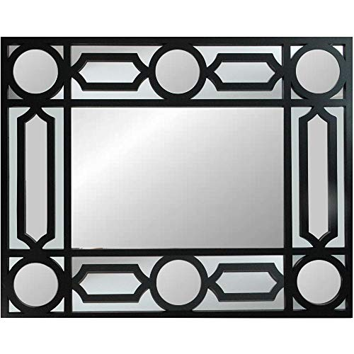 Northlight 29.5 Black Framed Geometric Openwork Rectangular Wall Mirror