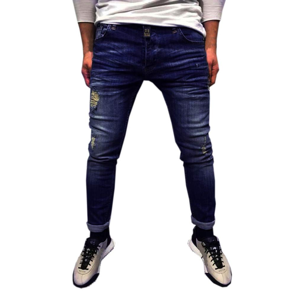 Cinhent Pants Mens Skinny Stretch Denim Solid Color Ripped Jeans Daily Trousers