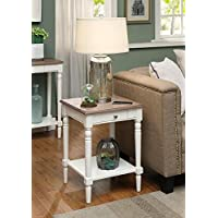 Convenience Concepts French Country End Table with Drawer and Shelf, Driftwood / White