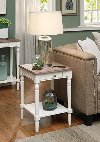 - Convenience Concepts French Country End Table with Drawer and Shelf, Driftwood / White