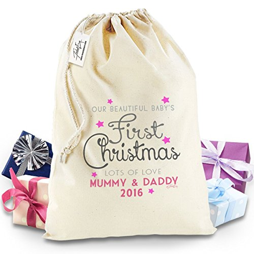 Pink Baby'S First Christmas Santa Sack