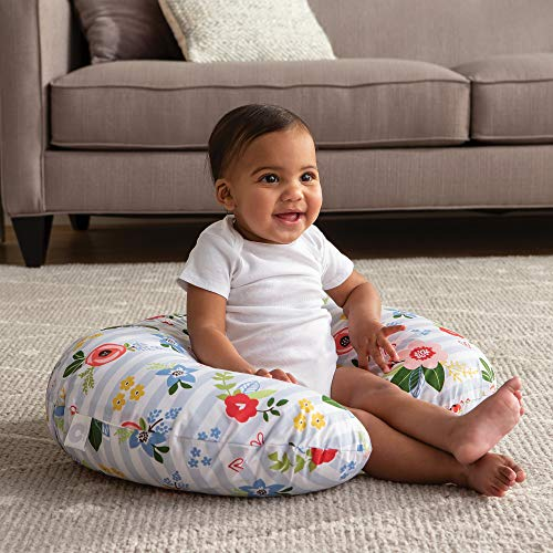 51B YBeT7JL - Boppy Original Nursing Pillow And Positioner, Blue Pink Posy, Cotton Blend Fabric With Allover Fashion