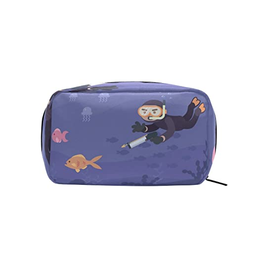 d753e5fe0169 Amazon.com : Man Hunting Fish With Speargun Makeup Bag Organizer ...