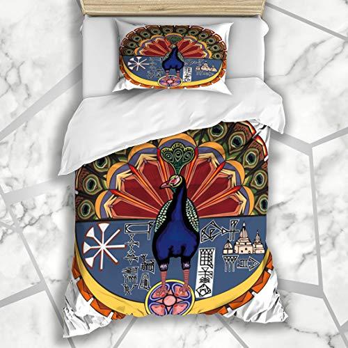 (Ahawoso Duvet Cover Sets Twin 68X86 Evil Angel Authentic Emblem God Melec Taus Ezidi Devil Peacock Ancient Culture Detail Design Heretic Microfiber Bedding with 1 Pillow Shams )