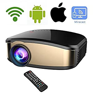 Wireless WiFi Video Projector DIWUER Full HD 1080P LED Home Cinema Movie Projector With HDMI/USB/VGA/AV Input for iPhone Android Phone PC Laptop