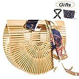 Womens Bamboo Handbag Handmade Handle Bag Summer Beach Tote Bag By Believeee (Bamboo Small & Purse)