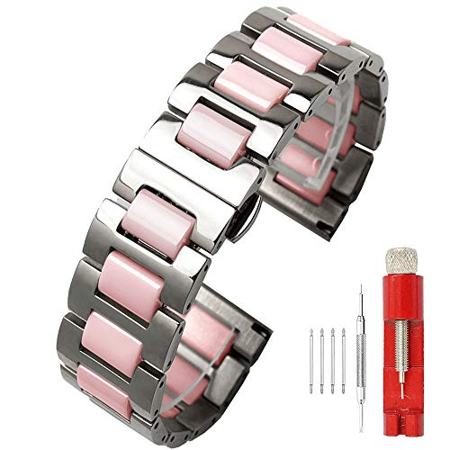 (Luxury Rare Pink 20mm Ceramic Watch Band Strap Stainless Steel Watch Bracelets Deployment Clasp Metal Watch Strap Removable Links for Women)