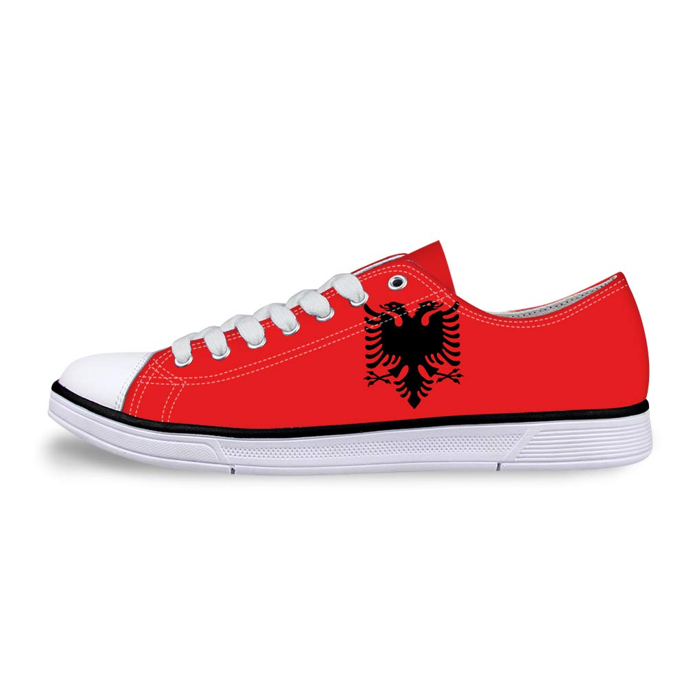 Canvas Low Top Sneaker Casual Skate Shoe Mens Womens Albania Flag