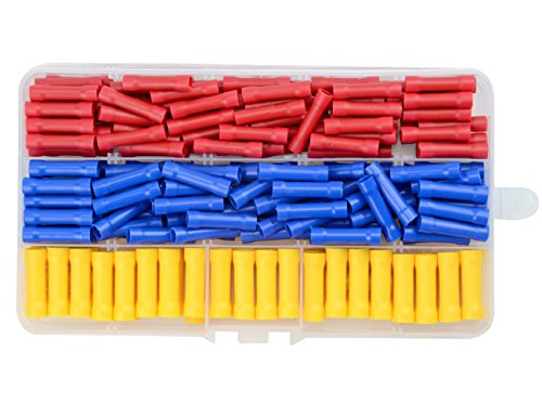 (WGCD 200 PCS Insulated Straight Wire Butt Splice Terminals Electrical Crimp Connector Assortment Kit)