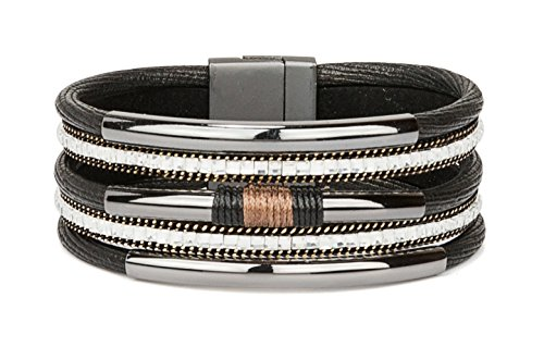 SPUNKYsoul New! Classy Bracelet Multi Strand Black with Gunmetal Tube & Magnet Clasp for Women Collection (Taupe Tube)