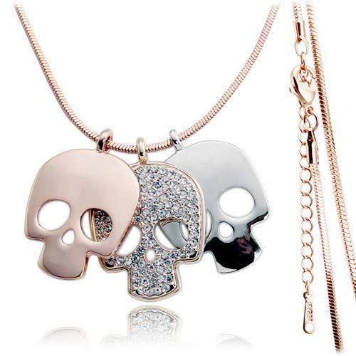 (Nitlovely Miss Lady Rose Gold Color Crystal Long Skull Skeleton Necklaces & Pendants Wholesales Fashion Jewelry for Women)