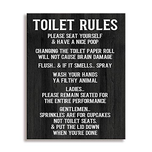 Toilet Rule Sign-Please Seat, Family Wall Art Signs Vintage Bathroom or Toilet Rule Decorative Plaque (12 X 15 inch, Toilet Rules-Z)