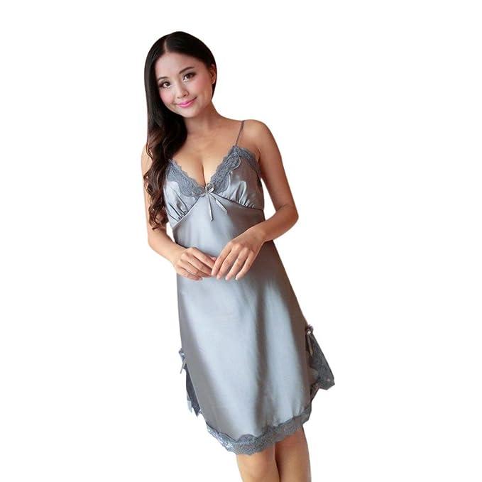 pijamas GillBerry Mujer Lencería del cordón de seda vestido de bata Picardias Camisón (M,
