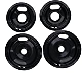 "Porcelain Drip Pan Set Replacement for Whirlpool W10288051 : 2 ea 6"" 93169204b and 8'' 93169205b"