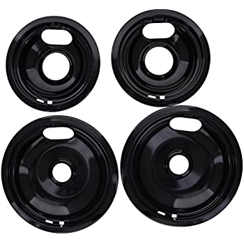 "Porcelain Drip Pan Set Replacement for Whirlpool W10288051 : 2 ea 6"" 93169204b and 8"" 93169205b"
