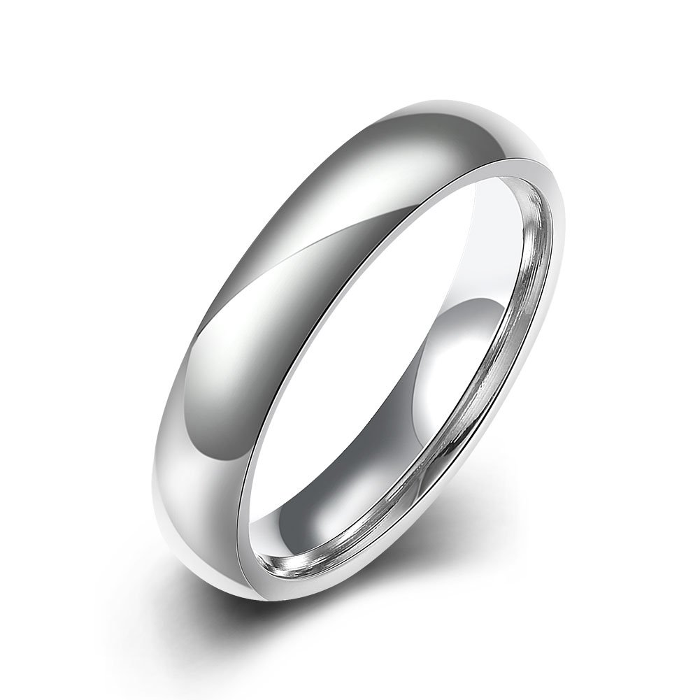 Normor Clearance! 4mm Stainless Steel Comfort Fit Classic Wedding Band Ring Women Men,High Polished