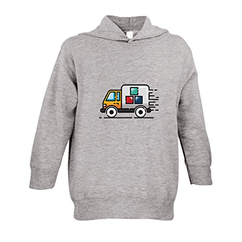 Cute Rascals Blue Garbage Truck Toddler Pullover 100% Fleece Hoodie Oxford Gray ()