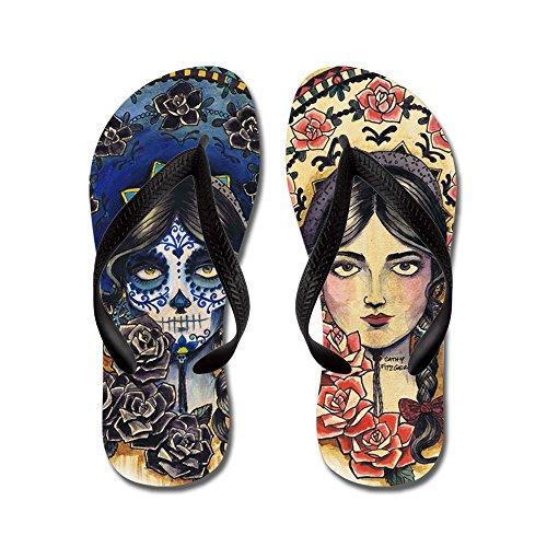 CafePress Sombrero Skull - Flip Flops, Funny Thong Sandals, Beach Sandals Black