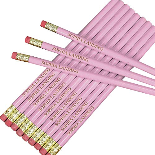 Engraved Pink School Pencils Pack of 12, 2 Pencil