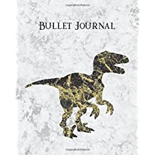 Bullet Journal: Black Gold White Marble Blank Dinosaur 8x10 Dot Grid Softcover Notebook, 160 pages, with Vintage Raptor Animal Design for Boys & Men