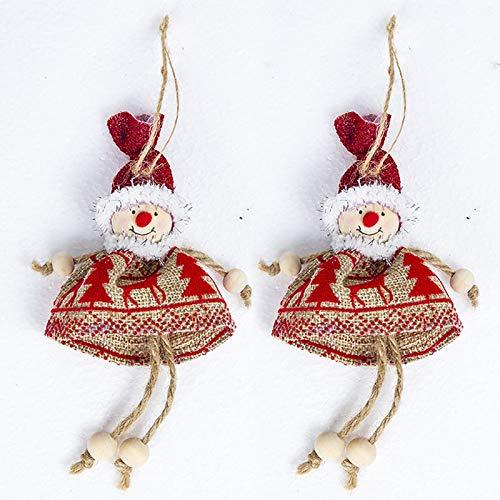 Pendant Drop Ornaments - 2pcs Creative Mini Doll Santa Claus Snowman Angel Xmas Tree Door Window Pendant Decorations - Angels Xmas Year Decoration Tree Door Decor Fire Window Miniature ()