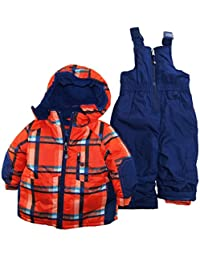 Rugged Bear Baby Boys' All Over Plaid Snowsuit, Orange, 12 Months
