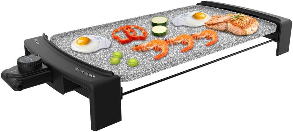 Cecotec Plancha eléctrica Tasty &Grill 3000 RockWater, 2600 W, revestimiento de piedra RockStone, resistencia en forma de E, termostato ajustable y apto para lavavajillas.