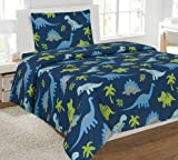 Golden Linens Reversible 3Pcs Twin Size Printed Blue and Lime Green Dinosaur Microfiber Kids sheets Set