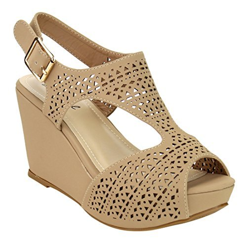 - Bonnibel Women's Platform Wedge Heel Cut Out Sling Back Sandals,Natural,7