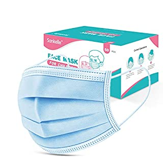 Sankelle Kids Face Mask 50pcs, 3layer Disposable Face Cover Protective for Kids Children School Daily Use