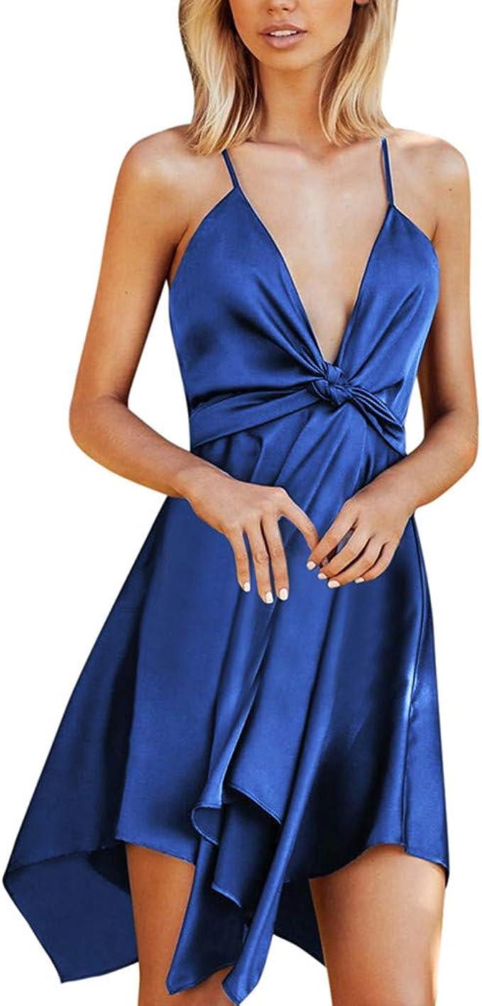 ❤Inawayls Kleider Damen V-Ausschnitt Rückenfrei Asymmetrischer