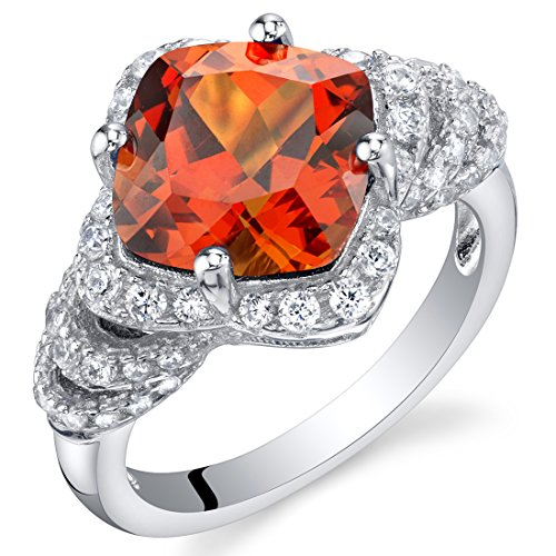 Natural Padparadscha Sapphire - 4.25 Carat Created Padparadscha Sapphire Sterling Silver Tier Halo Ring Size 9