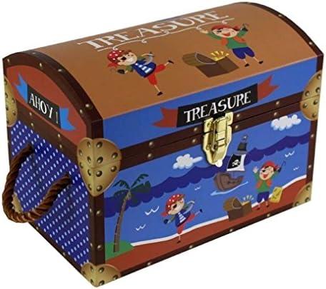 Niños pirata de los niños juguete caja de almacenamiento Cofre del tesoro caja baúl de regalo de los niños pequeños: Amazon.es: Hogar