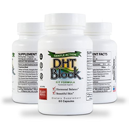 DHT Block (3 Pack - 180 Capsules Total) DHT Blocker Supplement for Skin, Acne, PCOS, Hair, and Hormonal Balance. DIM, Astragalus Root, Turmeric, Natural Ingredients. for Men and Women