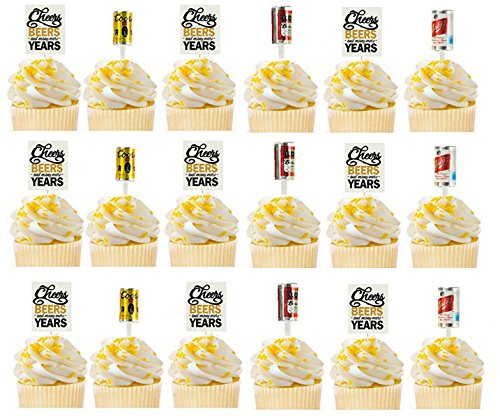 24Pack Cheers Beers Many More Years Birthday Annivesary Beer Cans & Picks Cupcake Appetizer Decoration Topper Food Picks