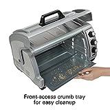 Hamilton Beach 6-Slice Countertop Toaster Oven with Easy Reach Roll-Top Door, Bake Pan, Silver
