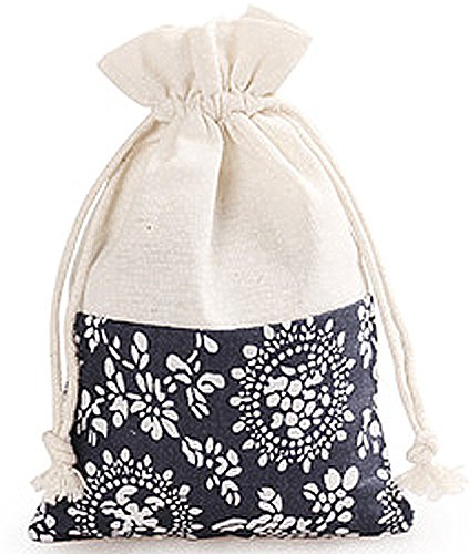 0, 20, 40 Count Wedding Favor Blue Floral Printed Cloth Bags for Gifts Jewelry Pouches 4