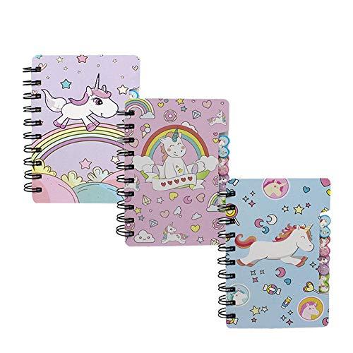 Mini Spiral Notebook for Kids Girls Pocket Journal Memo Ruled Paper, 3 Cute Unicorn Designs, 5.5