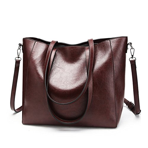 JSBKY Women's Handbag Leather Tote Shoulder Bags Soft Hot Satchel Purse (deep (Deep Purple Leather Handbags)