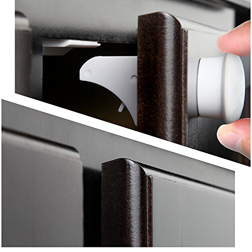LTM Baby Safety Magnetic Cabinet Locks - 3M Adhesive | Baby Proofing Kitchen & Child Locks | Quality Design | (4 pack + 1 Key) Magnetic Cabinets System