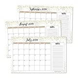 Gold 2019-2020 Large Monthly Desk or Wall Calendar Planner, Big Giant Planning Blotter Pad, 18 Month Academic Desktop, Hanging 2-Year Date Notepad Teacher, Mom Family Home or Business Office 11x17'