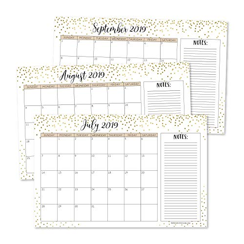 - Gold 2019-2020 Large Monthly Desk or Wall Calendar Planner, Big Giant Planning Blotter Pad, 18 Month Academic Desktop, Hanging 2-Year Date Notepad Teacher, Mom Family Home or Business Office 11x17
