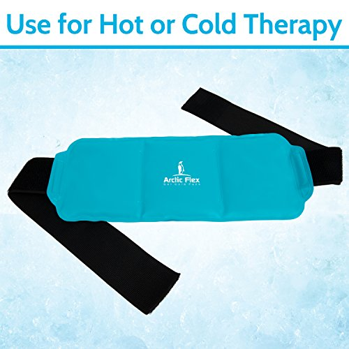 Arctic Flex Hot Cold Therapy Wrap - Reusable Gel Ice and Heat Compress Pack with Strap for Muscle, Injuries, Back, Neck Aches, Knee, Ankle, Calves, Elbow Pain Relief - Microwaveable Blue Pad, Flexible by Arctic Flex (Image #4)